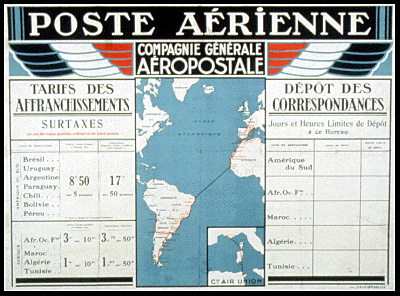 Rate schedule for airmail transported via Aéropostale between South America and North Africa.