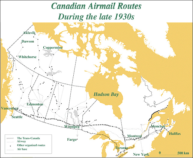 Canadian Airmail Routes During the Late 1930s
