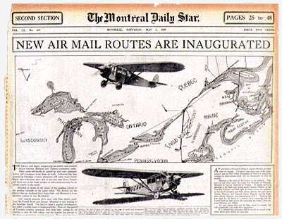 Map Depicting the first official airmail routes in Canada