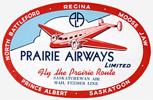 Prairie Airways baggage label