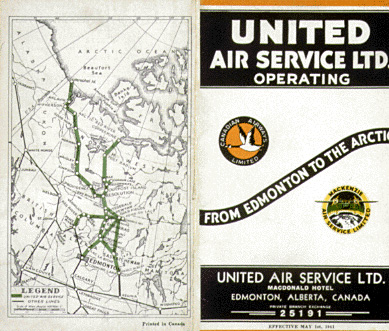 United Air Service timetable, 1941