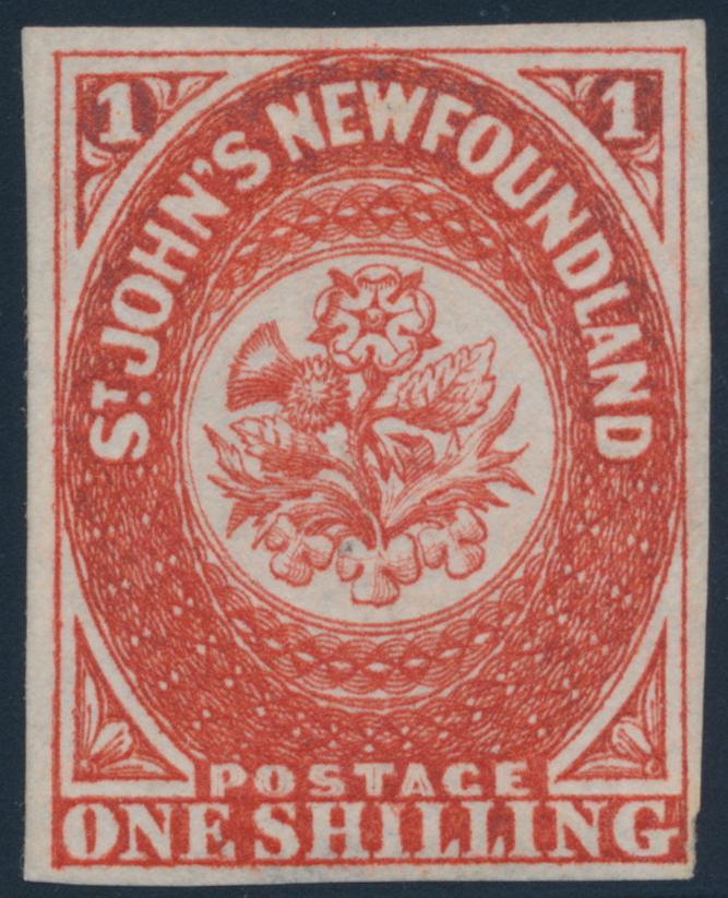 1 shilling 1857 - St. John's Newfoundland - Scarlet vermilion
