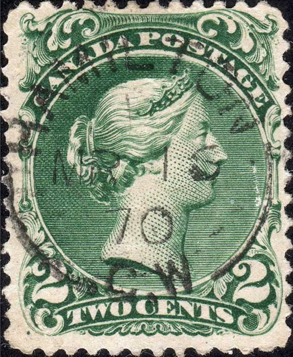 Queen Victoria - 2 cents 1868 - Canadian stamp - Printed on laid paper - Scott #32