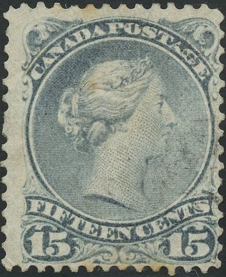 Queen Victoria - 15 cents 1868 - Canada Stamp - Blue gray - 30b