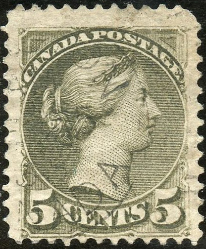 Queen Victoria - 15 cents 1876 - Canada stamp - Slate green - 30b