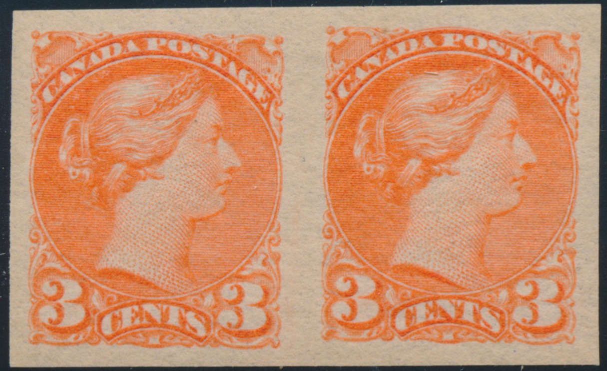 Queen Victoria - 3 cents 1888 - Canadian stamp - Imperforate - Pair - 41b