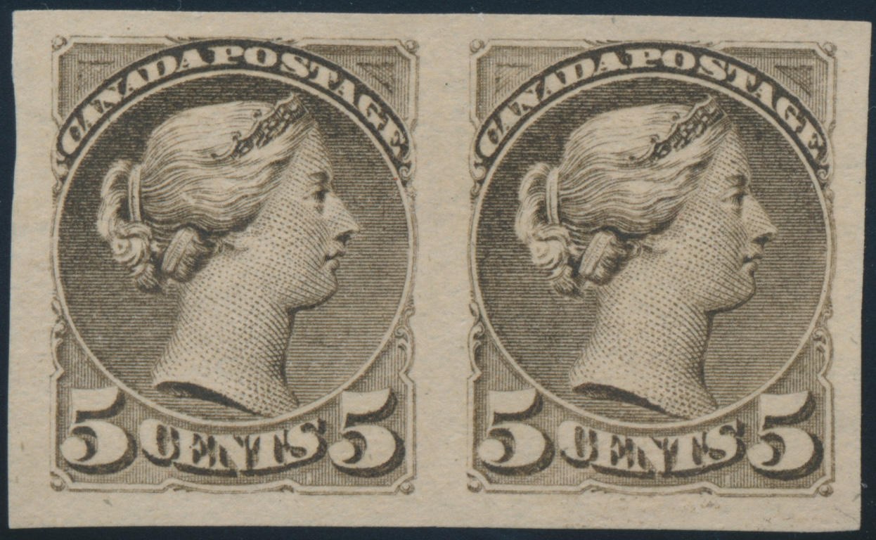 Queen Victoria - 5 cents 1891 - Canadian stamp - Imperforate - Pair - 42a