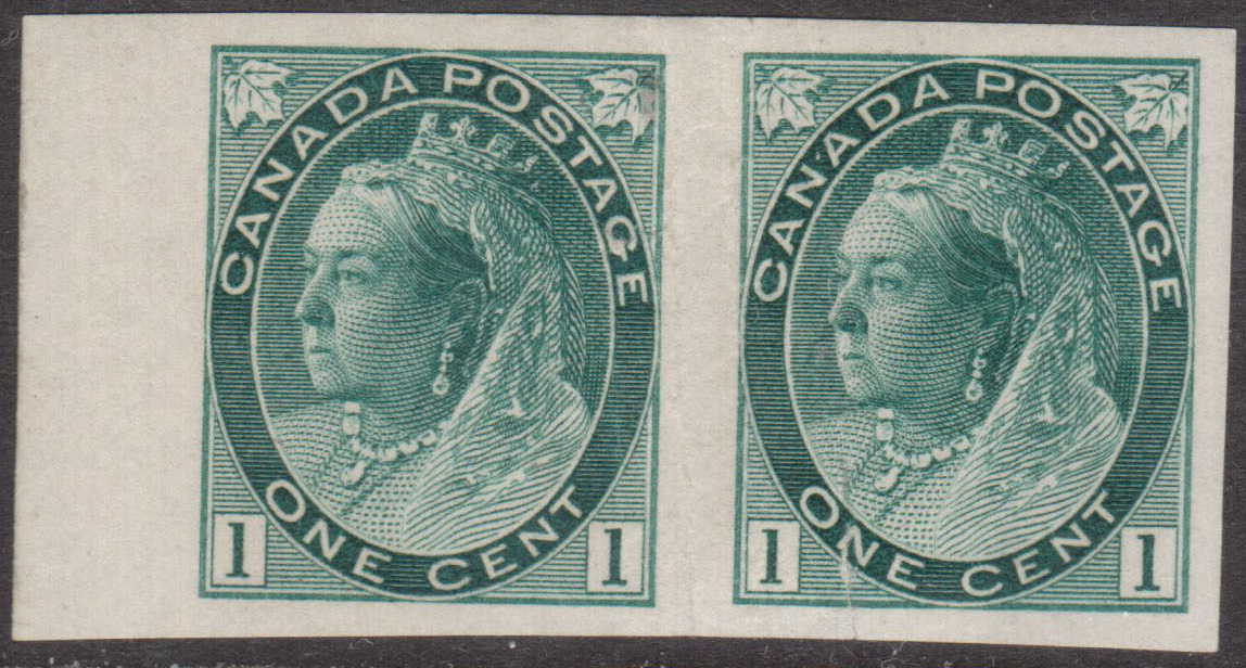 Queen Victoria - 1 cent 1898 - Canadian stamp - Timbre du Canada - Imperforate Pair - 75a