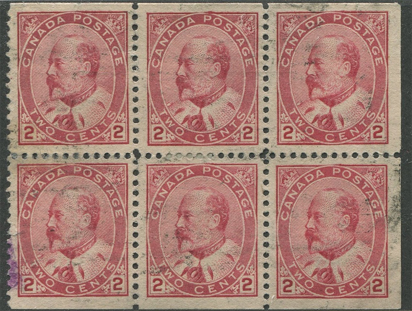 King Edward VII - 2 cents 1903 - Stamp Canada - Booklet pane of 6 stamps