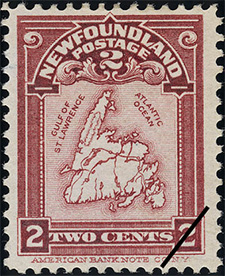 1908 - Map of Newfoundland - Canadian stamp - Stamps of Canada