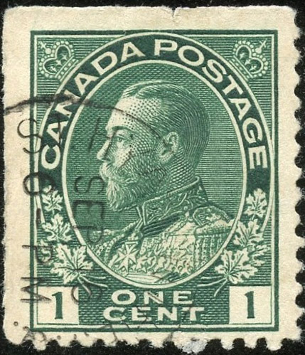 Roi Georges V - 1 cent 1911 - Canada Stamp - Blue green