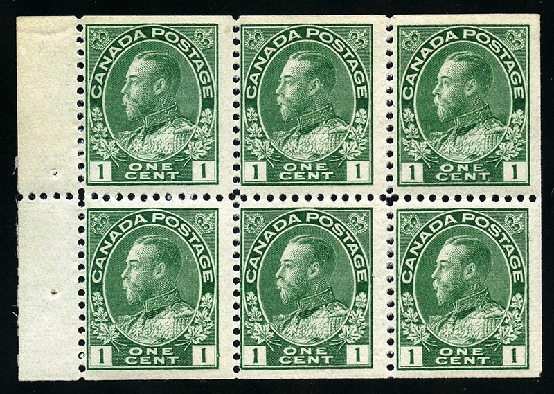 Roi Georges V - 1 cent 1911 - Canada Stamp - Booklet pane of 6 stamps