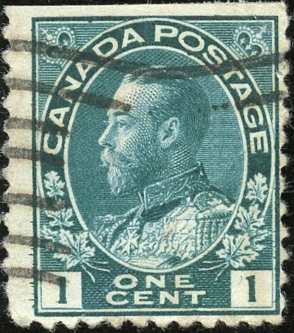 Roi Georges V - 1 cent 1911 - Canada Stamp - Deep Blue green
