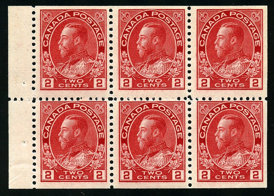 King Georges V - 2 cents 1911 - Stamp Canada - Booklet pane of 6 stamps