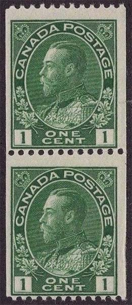 King Georges V - 1 cent 1915 - Canadian stamp - Scott 131 - Pair