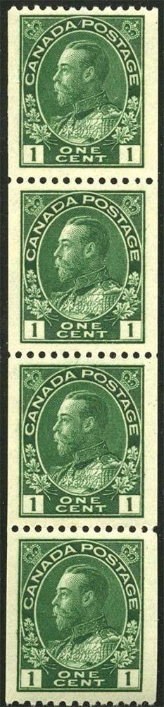 King Georges V - 1 cent 1915 - Canadian stamp - Scott 131 - Strip of 4