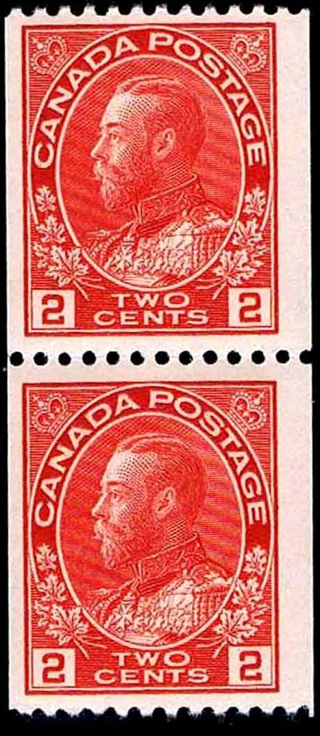 King Georges V - 2 cents 1915 - Canadian stamp - Scott 132 - Pair