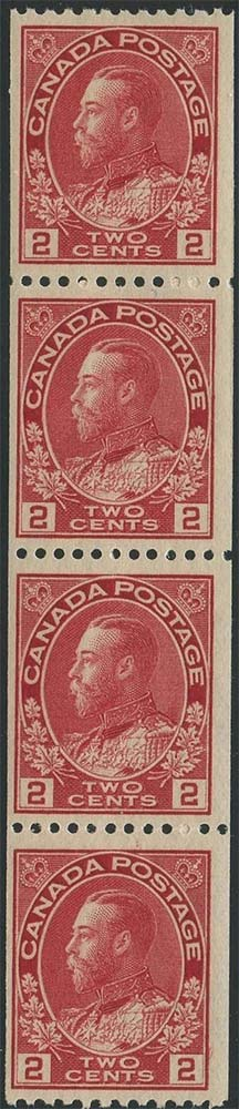 King Georges V - 2 cents 1915 - Canadian stamp - Scott 132 - Strip of 4