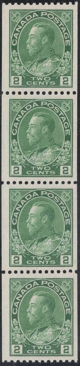 King Georges V - 2 cents 1915 - Canadian stamp - Scott 133 - Strip of 4