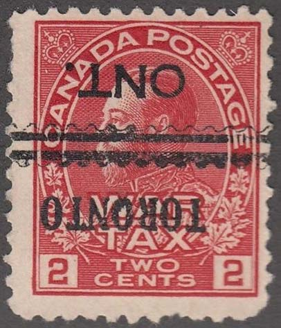 King Georges V - 2 cents 1921 - Canadian stamp - Scott MR2 - Precancel - War Tax
