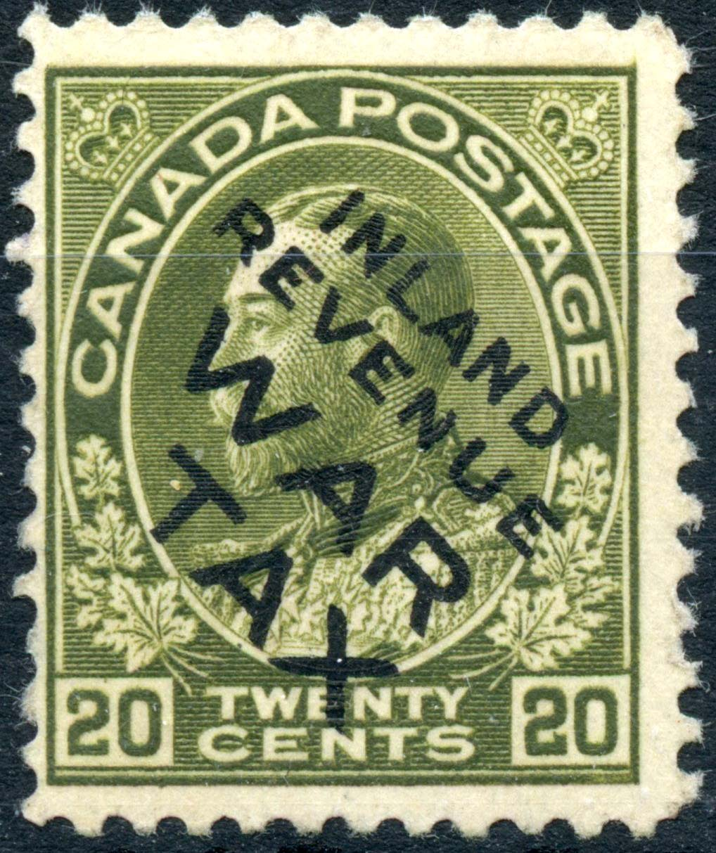 Roi Georges V - 20 cents 1915 - Timbre du Canada - Scott MR2Ci - Overprint Inland revenue - Taxe de guerre