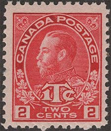 King Georges V 1916 - Canadian stamp