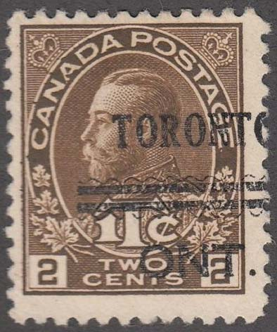 King Georges V - Canadian stamp - Scott MR4 - Precancelled - Precancel - Cancelled