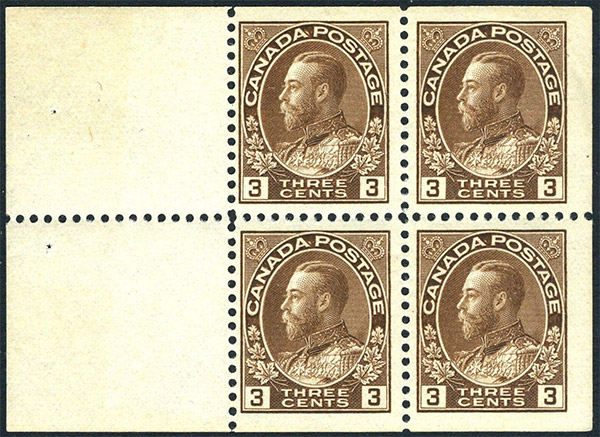 King Georges V - 3 cents 1918 - Canada Stamp - Booklet of 4 stamps + 2 labels