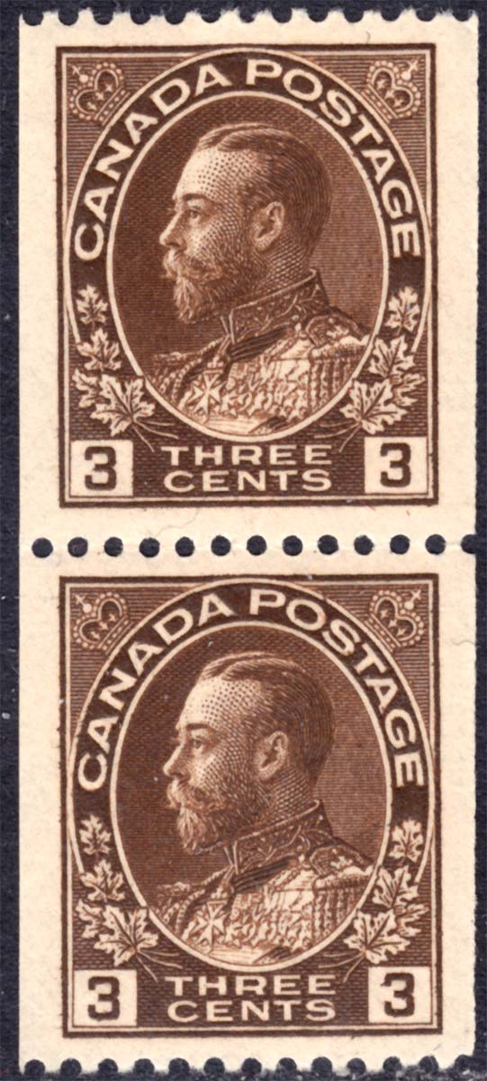 King Georges V - 3 cents 1921 - Canadian stamp - Scott 134 - Pair