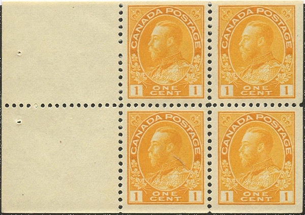 Roi Georges V - 1 cent 1922 - Stamp Canada - Booklet of 4 stamps + 2 labels