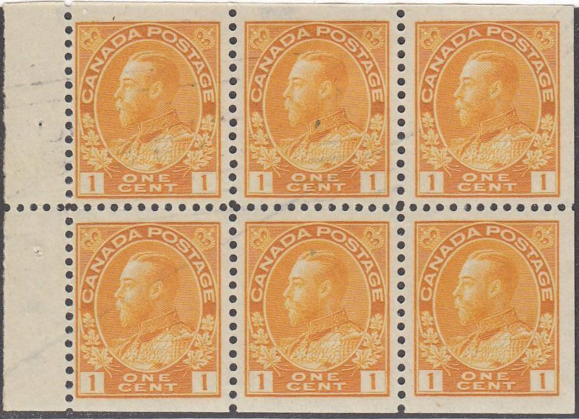 Roi Georges V - 1 cent 1922 - Canada Stamp - Booklet pane of 6 stamps