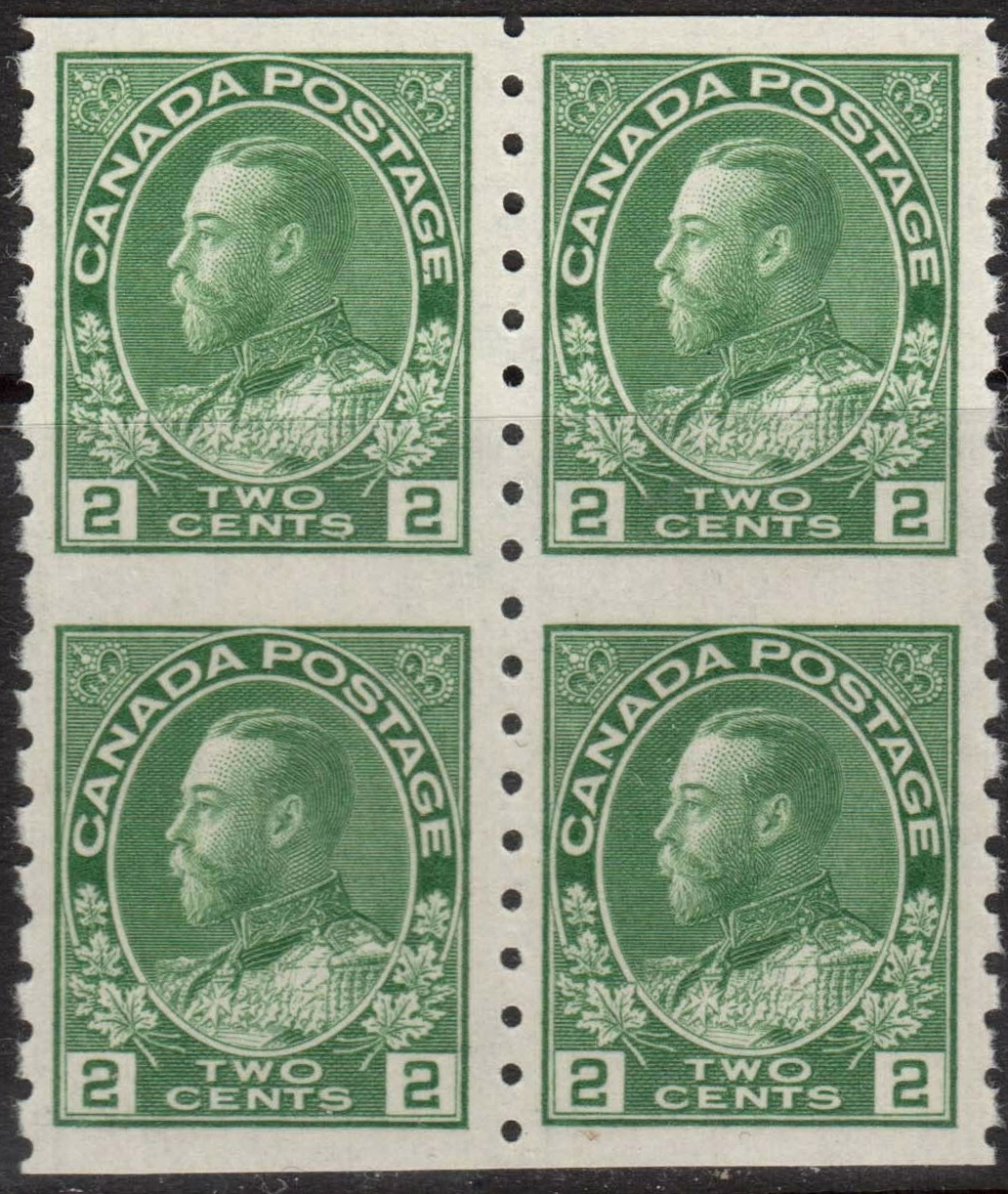 King Georges V - 2 cents 1922 - Canadian stamp - Block of 4 - 128a
