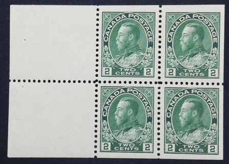 King Georges V - 2 cents 1922 - Stamp Canada - Booklet of 4 stamps + 2 labels