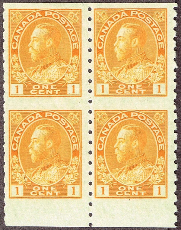 King Georges V - 1 cent 1923 - Block of 4 - Die II
