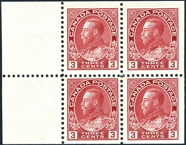 King Georges V - 3 cents 1923 - Canada Stamp - Booklet of 4 stamps + 2 labels