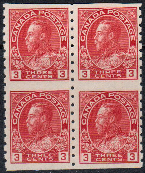 King Georges V - 3 cents 1924 - Canadian stamp - Block of 4 - 130a