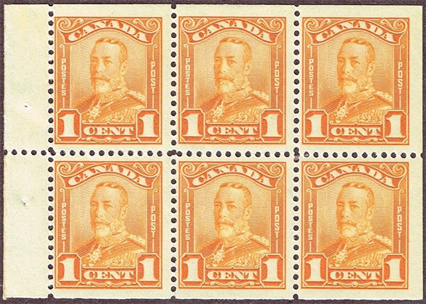 King George V - 1 cent 1928 - Canadian stamp - 149a - Booklet pane of 6