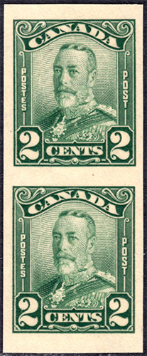 King George V - 5 cents 1928 - Canadian stamp - 150b - Imperforate - Pair