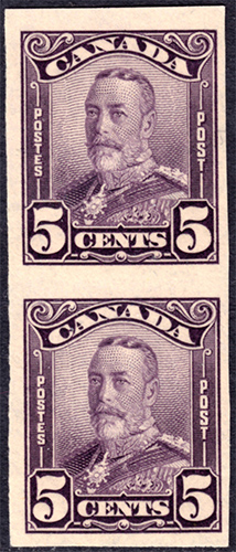 King George V - 5 cents 1928 - Canadian stamp - 153b - Imperforate - Pair