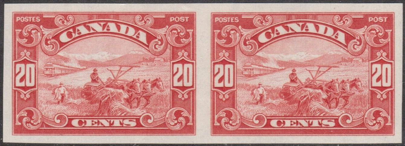 Harvesting - 20 cents 1929 - Canadian stamp - Imperforate - Pair - 157a