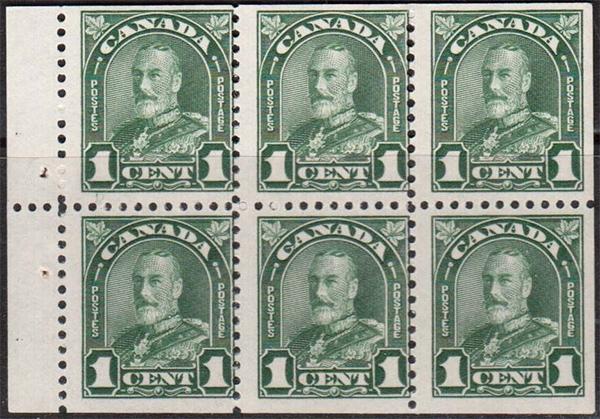 King George V - 1 cent 1930 - Canadian stamp - 163c - Booklet pane of 6