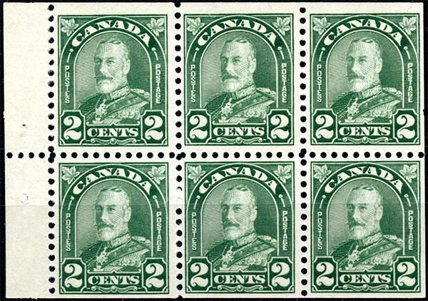 King George V - 2 cents 1930 - Canadian stamp - 164a - Booklet pane of 6