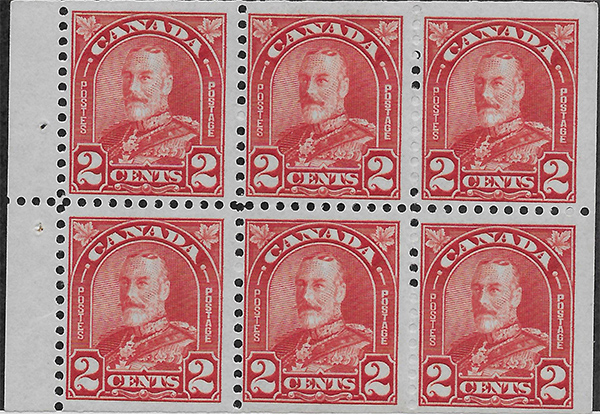 King George V - 2 cents 1930 - Canadian stamp - 165b - Booklet pane of 6
