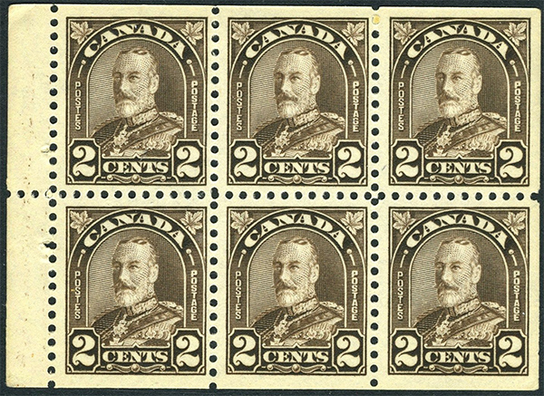 King George V - 2 cents 1931 - Canadian stamp - 166c - Panel of 6 stamps