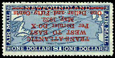 Dornier DO-X Flight - 1 dollar 1932 - Inverted Surcharge