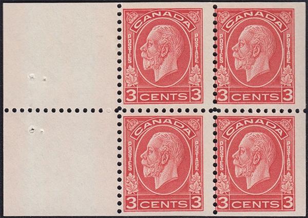 King George V - 3 cents 1932 - Canadian stamp - 197d - Booklet of 4 stamps + 2 labels