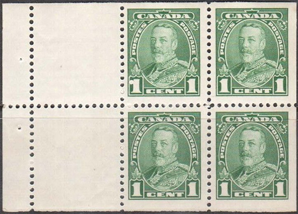 King Georges V - 1 cent 1935 - Canadian stamp - 217a - Booklet of 4 stamps + 2 labels