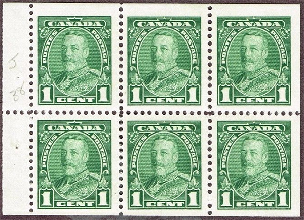 King Georges V - 1 cent 1935 - Canadian stamp - 217b - Booklet pane of 6
