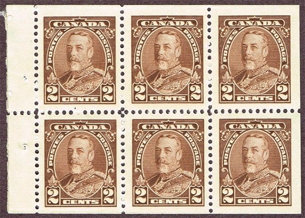 King Georges V - 2 cents 1935 - Canadian stamp - 218b - Booklet pane of 6