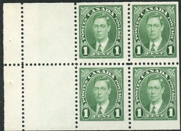 King George VI - 1 cent 1937 - Canadian stamp - 231a - Booklet of 4 stamps + 2 labels